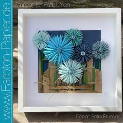 Wandobjekt 'Blaue Blumen'