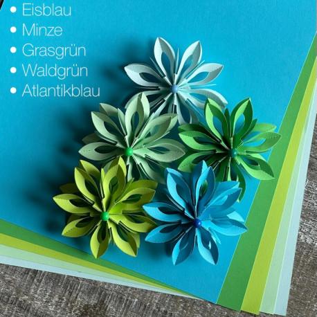 Bögen Papier in 5 Farben DIN-A4, 120g