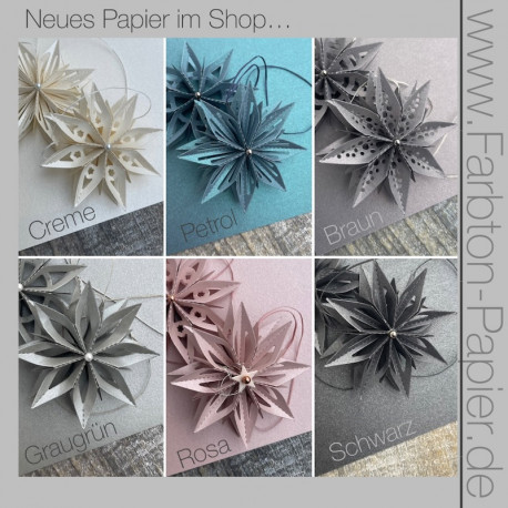12 Bögen glänzendes Papier in 6 Farben DIN-A4, 120g